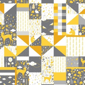 Gray Yellow Woodland Forest Patchwork Quilt