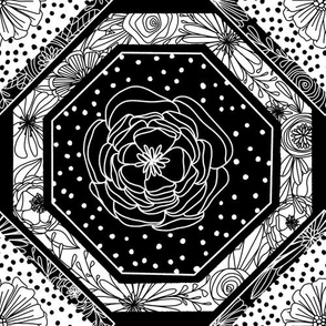 Hand drawn floral geometric patchwork | Monochrome