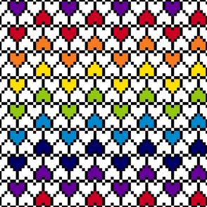 Big Pixel Hearts Rainbow