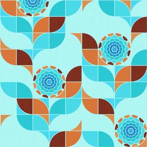 Bullseye Bloom Patchwork - aqua