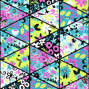 Tropical Garden Triangle Cheater Quilt