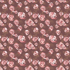 Retro Roses-Brown and Pink-Small