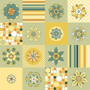 Sunny Flowers Cheater Quilt