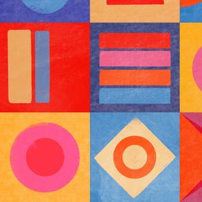 Retro Colour Block Bright Quilt