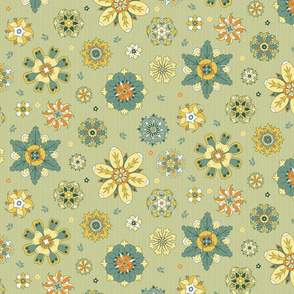 scattered rosette flowers yellow and green medium