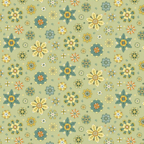 scattered rosette flowers yellow and green small