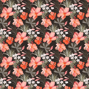Hibiscus tropical palm leaves - small