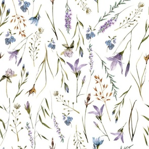 Simply Watercolor Wildflowers And Grasses Meadow  on white