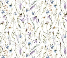 Simply Watercolor Wildflowers And Grasses Meadow double Layer on white