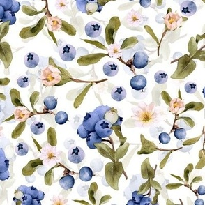 Hand painted Midsummer Blueberries and Tiny Flowers and Leaves- Double Layer on White
