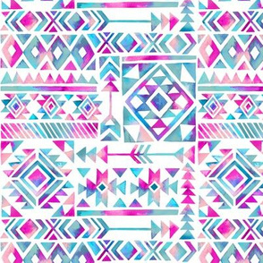 Tribal Summer /  Pink Turquoise on White Background / Small Scale