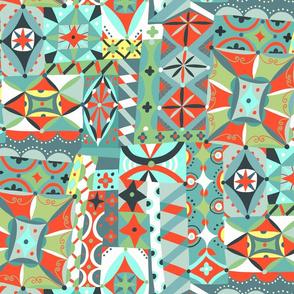 patchwork folk art playground // blue green