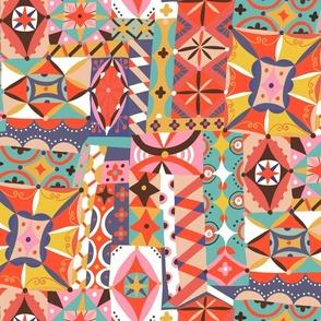 patchwork folk art playground // warm orange turquoise