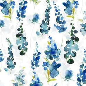 Hand drawn blue watercolor florals on white