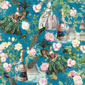 Marie Antoinette in her French Flower Roses Garden  - turquoise double layer