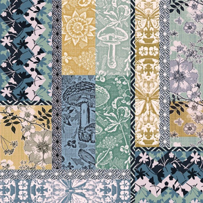 Patchwork Cottagecore Turquoise Tan