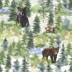 Bears Woodland Mountains  light background
