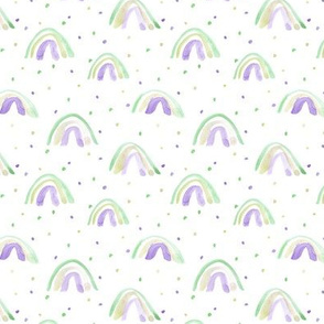 whimsical watercolor rainbows with dots painted rainbow design for modern nursery baby kids a114-3