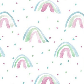 pastel whimsical watercolor rainbows with dots painted rainbow design for modern nursery baby kids a114-5