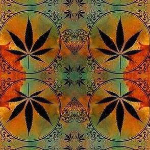 Marijuana leaf medallion earth