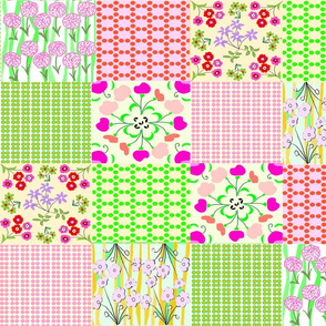 PINK AND GREEN  GRANNY QUILT