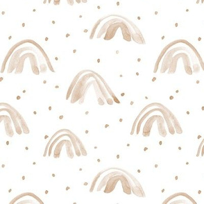 Neutral boho earthy toned whimsical watercolor rainbows with dots painted rainbow design for modern nursery baby kids a114-7