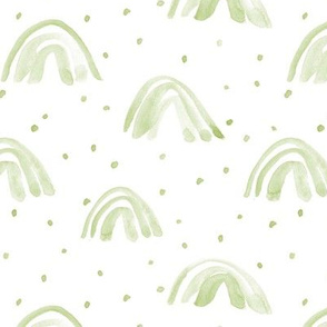 Khaki whimsical watercolor rainbows with dots painted rainbow design for modern nursery baby kids a114-8