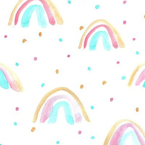 Mint and peachy whimsical watercolor rainbows with dots painted rainbow design for modern nursery baby kids a114-1
