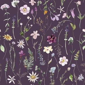 Summer Wildflower Floral / Plum