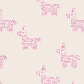 Let's have a Mexican piñata birthday party boho funky donkey illustration neutral kids ivory pink black monochrome