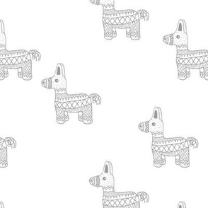 Let's have a Mexican piñata birthday party boho funky donkey illustration neutral kids ivory soft gray white neutral monochrome
