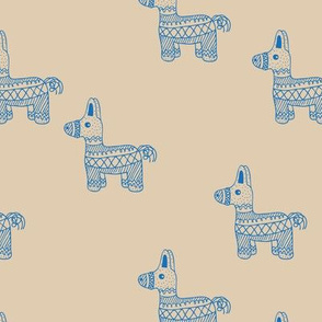 Let's have a Mexican piñata birthday party boho funky donkey illustration neutral kids sand classic blue boys monochrome