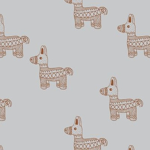 Let's have a Mexican piñata birthday party boho funky donkey illustration neutral kids gray copper rust boys monochrome