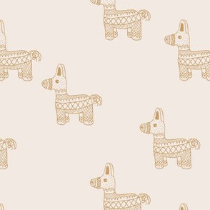 Let's have a Mexican piñata birthday party boho funky donkey illustration neutral kids cream ivory caramel yellow monochrome