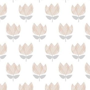 Little vintage style boho tulips blossom garden spring flowers neutral baby nursery white beige gray