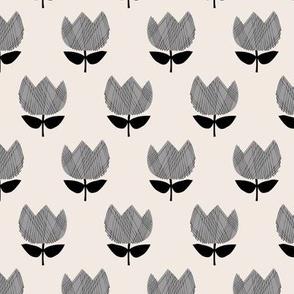 Little vintage style boho tulips blossom garden spring flowers neutral baby nursery gray black on cream