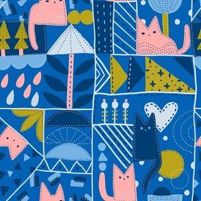 Patchwork-cats-doodle-pattern-sketch