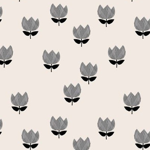Little vintage style messy boho tulips blossom garden spring flowers neutral baby nursery gray black on cream