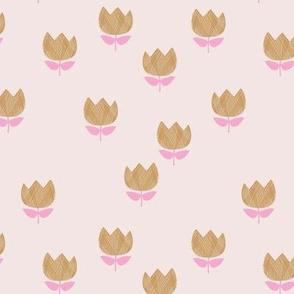 Little vintage style messy boho tulips blossom garden spring flowers neutral baby nursery cream blush pink caramel