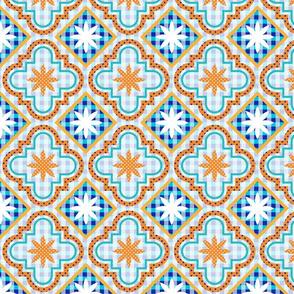Normal scale • Orange Tile Patchwork coordinate