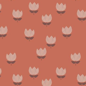 Little vintage style messy boho tulips blossom garden spring flowers neutral baby nursery red brick clay sand beige