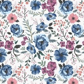 Small Scale Berry Meadow Floral (boho, blue and purple flowers, feminine, cool colors)