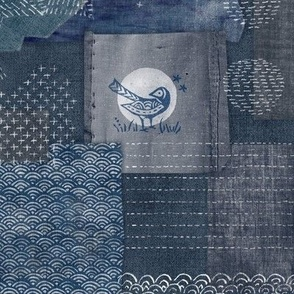 Sashiko Indigo Linen   Japanese stitch patterns on a dark blue linen texture, patchwork, boro cloth, visible mending, kantha quilt in navy blue and gray.