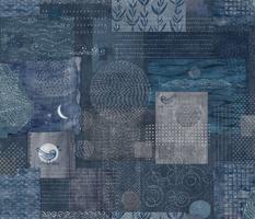 Sashiko Indigo Linen | Japanese stitch patterns on a dark blue linen texture, patchwork, boro cloth, visible mending, kantha quilt in navy blue and gray.
