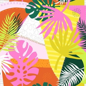 Palm Leaves Patchwork Summer Collage