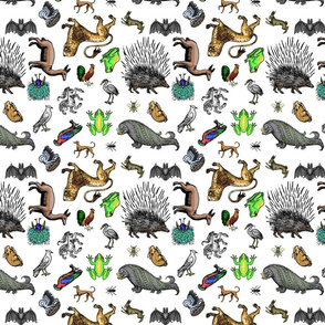 Medieval Animals small multi-directional white