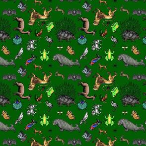 Medieval Animals small print, multidirectionalsmall green