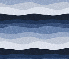 Stitched Waves - textured blue ombre- medium scale