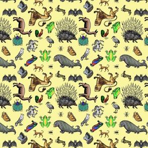 Medieval Animals small print multidirectional smallyellow