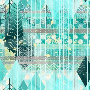 Aqua Ice Patchwork -- Granny Chic Abstract Art Deco Leaf Skeleton Landscape  in Aqua